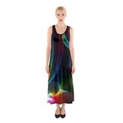 Abstract Rainbow Twirls Sleeveless Maxi Dress
