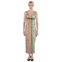 Abstract Board Construction Panel Fitted Maxi Dress