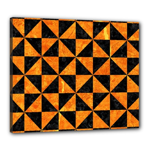 Triangle1 Black Marble & Orange Marble Canvas 24  X 20  (stretched)
