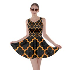 Tile1 Black Marble & Orange Marble Skater Dress