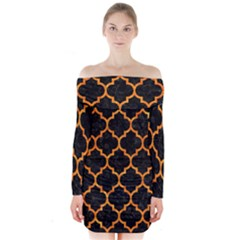 Tile1 Black Marble & Orange Marble Long Sleeve Off Shoulder Dress
