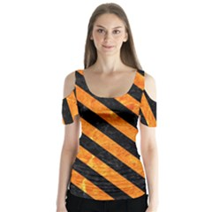 Stripes3 Black Marble & Orange Marble (r) Butterfly Sleeve Cutout Tee