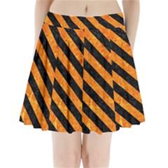 Stripes3 Black Marble & Orange Marble (r) Pleated Mini Skirt