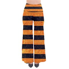 Stripes2 Black Marble & Orange Marble So Vintage Palazzo Pants