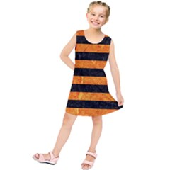 Stripes2 Black Marble & Orange Marble Kids  Tunic Dress