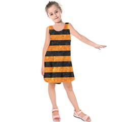 STR2 BK-OR MARBLE Kids  Sleeveless Dress