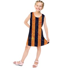 Stripes1 Black Marble & Orange Marble Kids  Tunic Dress