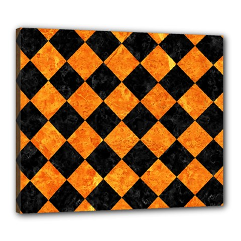 Square2 Black Marble & Orange Marble Canvas 24  X 20  (stretched)