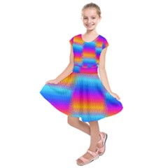 Psychedelicrainbowheatwaves Kids  Short Sleeve Dress