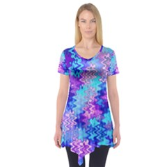 Blue and Purple Marble Waves Short Sleeve Tunic