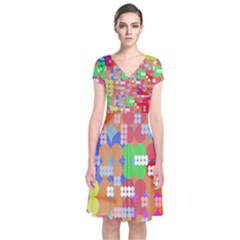 Abstract Polka Dot Pattern Short Sleeve Front Wrap Dress