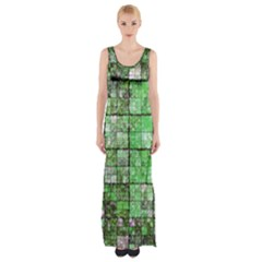 Background Of Green Squares Maxi Thigh Split Dress