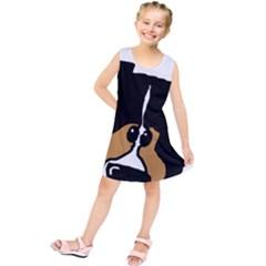 Black Tri Peeping Mini Aussie Dog Kids  Tunic Dress