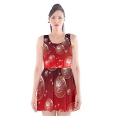 Background Red Blow Balls Deco Scoop Neck Skater Dress