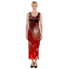 Background Red Blow Balls Deco Fitted Maxi Dress