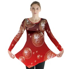 Background Red Blow Balls Deco Long Sleeve Tunic