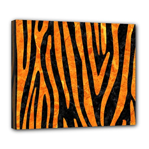 Skin4 Black Marble & Orange Marble (r) Deluxe Canvas 24  X 20  (stretched)