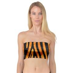 Skin4 Black Marble & Orange Marble Bandeau Top