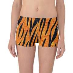 Skin3 Black Marble & Orange Marble (r) Boyleg Bikini Bottoms