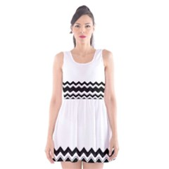 Chevrons Black Pattern Background Scoop Neck Skater Dress