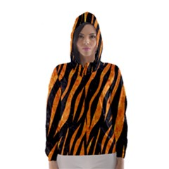 Skin3 Black Marble & Orange Marble Hooded Wind Breaker (women)