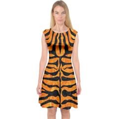 Skin2 Black Marble & Orange Marble (r) Capsleeve Midi Dress