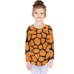 Skin1 Black Marble & Orange Marble Kids  Long Sleeve Tee