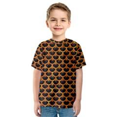 Scales3 Black Marble & Orange Marble Kids  Sport Mesh Tee