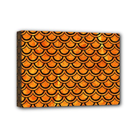 Scales2 Black Marble & Orange Marble (r) Mini Canvas 7  X 5  (stretched)