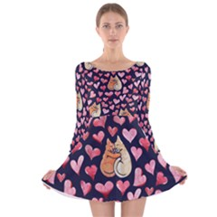 Crazy Cat Love Long Sleeve Velvet Skater Dress