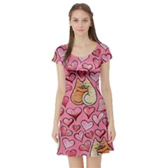 Cat Love Valentine Short Sleeve Skater Dress