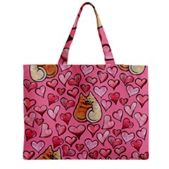 Cat Love Valentine Medium Zipper Tote Bag