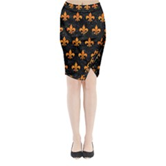 Royal1 Black Marble & Orange Marble (r) Midi Wrap Pencil Skirt