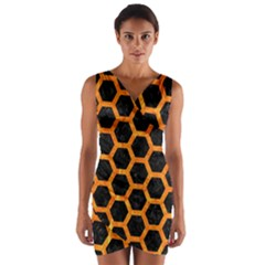 Hexagon2 Black Marble & Orange Marble Wrap Front Bodycon Dress