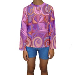 Candy Abstract Pink, Purple, Orange Kids  Long Sleeve Swimwear