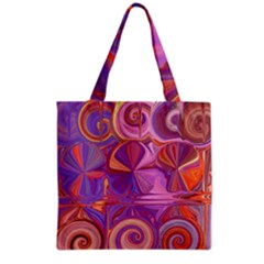 Candy Abstract Pink, Purple, Orange Grocery Tote Bag