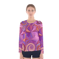 Candy Abstract Pink, Purple, Orange Women s Long Sleeve Tee