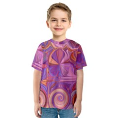 Candy Abstract Pink, Purple, Orange Kids  Sport Mesh Tee