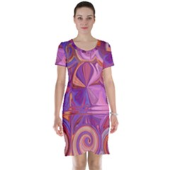 Candy Abstract Pink, Purple, Orange Short Sleeve Nightdress