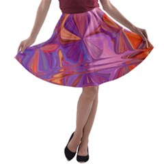 Candy Abstract Pink, Purple, Orange A Line Skater Skirt