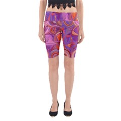 Candy Abstract Pink, Purple, Orange Yoga Cropped Leggings