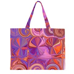 Candy Abstract Pink, Purple, Orange Zipper Large Tote Bag