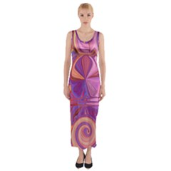 Candy Abstract Pink, Purple, Orange Fitted Maxi Dress