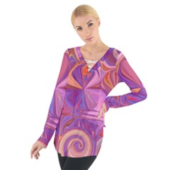 Candy Abstract Pink, Purple, Orange Women s Tie Up Tee