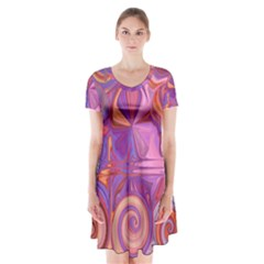Candy Abstract Pink, Purple, Orange Short Sleeve V-neck Flare Dress