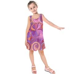 Candy Abstract Pink, Purple, Orange Kids  Sleeveless Dress