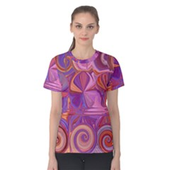 Candy Abstract Pink, Purple, Orange Women s Cotton Tee