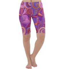 Candy Abstract Pink, Purple, Orange Cropped Leggings