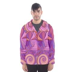 Candy Abstract Pink, Purple, Orange Hooded Wind Breaker (men)