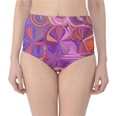 Candy Abstract Pink, Purple, Orange High-Waist Bikini Bottoms